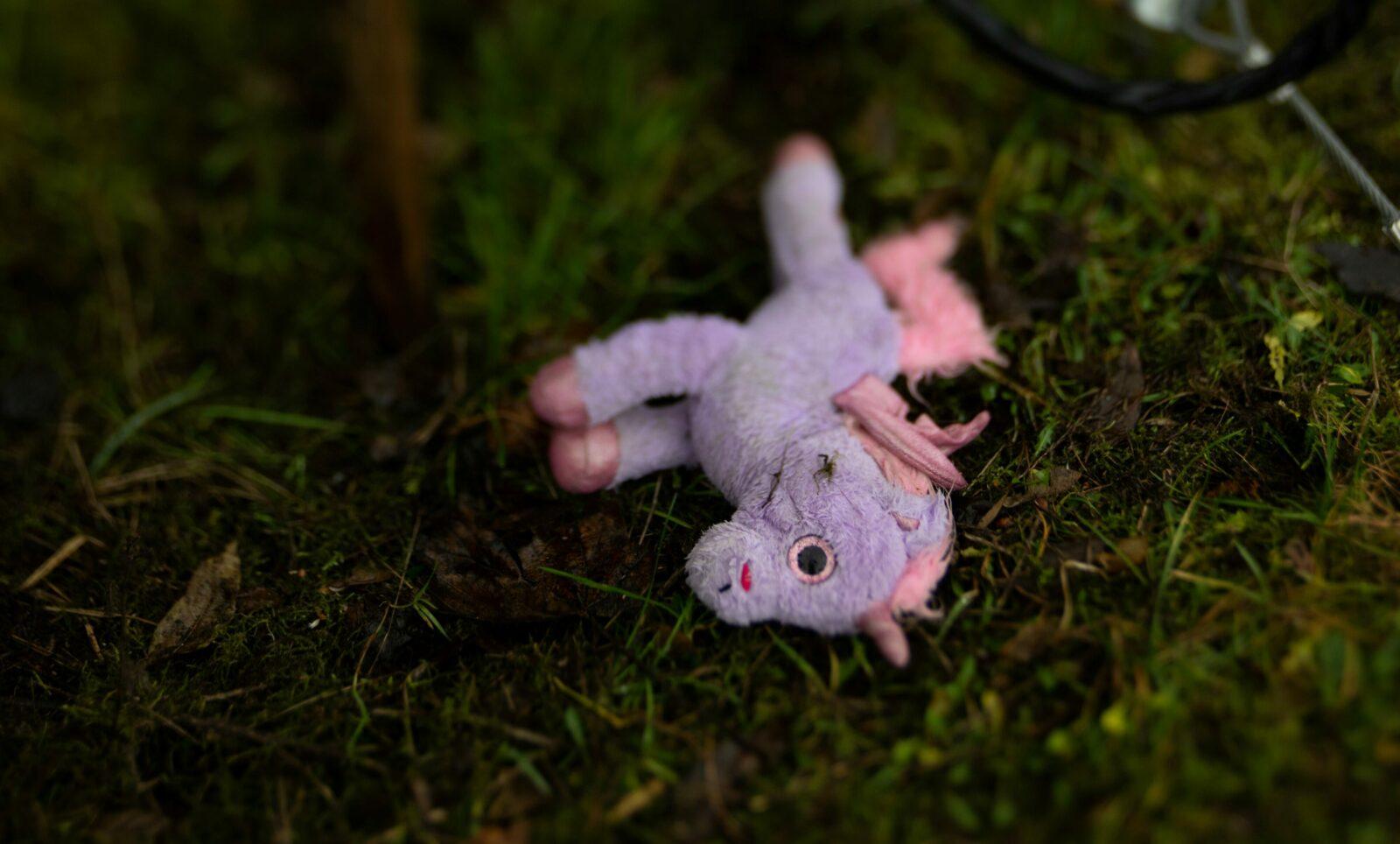 A unicorn figurine laying on the ground