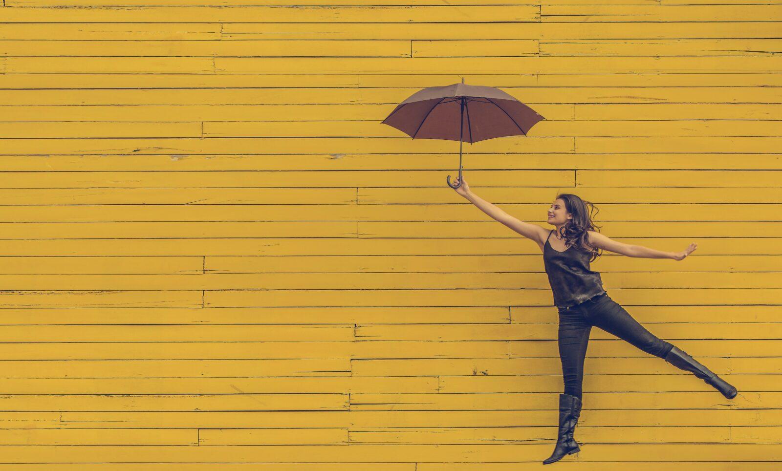 Someone holding an umbrella