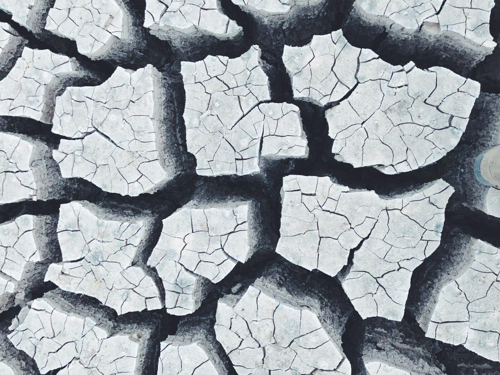 Cracked, uneven ground